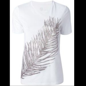 Tory Burch Glitter Leaf / Feather T Shirt